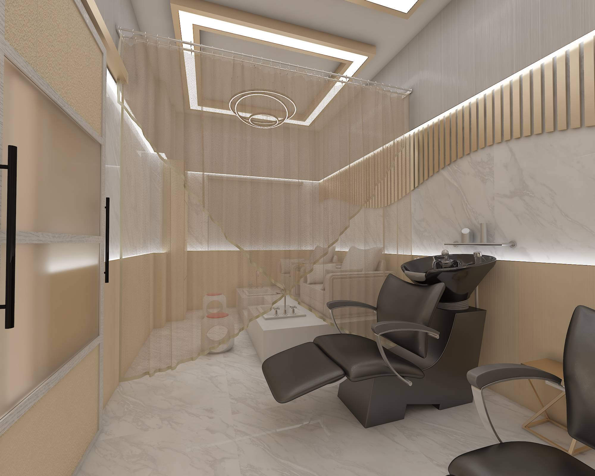 Hair washing unit beauty parlor design